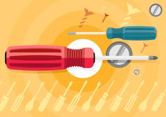 Standard cabinet tip screwdriver, turn-screw Stock Illustration