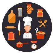 Cooking serve meals and food preparation elements Stock Illustration
