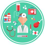 Hospital concept with item icons Stock Illustration