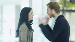 Young Couple is Fighting, Girl is Slapping a Man in Shopping Mall. Stock Footage