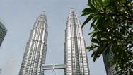 Stock Video Footage of The Petronas Twin Towers in Kuala Lumpur, Malaysia