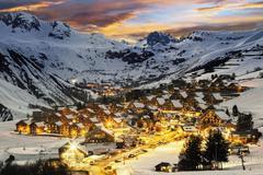 Ski resort in French Alps,Saint jean d'Arves - stock photo