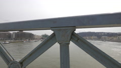 Danube River view from Chain Bridge in Budapest Stock Footage