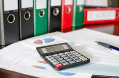 Accounting desktop Stock Photos