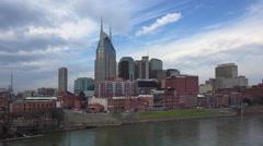 Nashville skyline along Riverfront Park at dawn Stock Footage