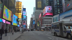 Traffic street New York City video display car pedestrian people Times Square US Stock Footage