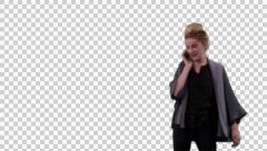 K14A8751 - Young woman on the phone, walking up and down. Stock Footage