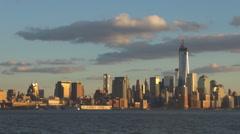 Beautiful panorama New York City skyline Freedom Tower sunset landmark iconic US Stock Footage