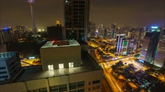 Kuala Lumpur Night Cityscape, Timelapse Stock Footage