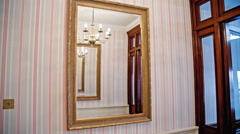 English interior with expensive mirror on wall Stock Footage