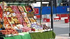 Food stall in London city Stock Footage