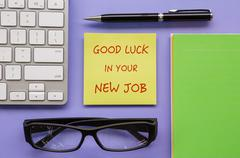 """Notepad with words """" Good Luck In Your New Job """" - stock photo"""