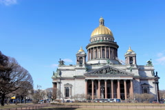 Movement of clouds over St. Isaac's Cathedral in St. Petersburg on march 2015,  Stock Footage
