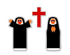 Vector - Simple icon of christian nun rejoicing and praying front red cross Stock Illustration