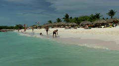 Aruba Eagle Beach 001 white sand seen from turquoise water - stock footage
