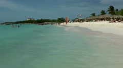 Aruba Eagle Beach 002 long view over the turquoise water with shallow waves - stock footage