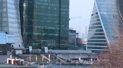 Big business life trade complex Moscow city skyscrapers - stock footage