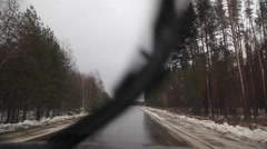 Movement by car on the road. the snow has melted Stock Footage