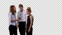 K14A8754 - 3 people (2 girls, one guy) look at mobile and can't belive - stock footage