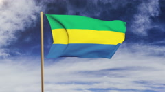 Gabon flag waving in the wind. Green screen, alpha matte. Loopable animation Stock Footage