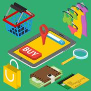 Flat 3d isometric online store e-commerce web infographic concept vector. Int Piirros