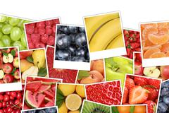 Fruits background with apples, oranges, lemons and copyspace - stock photo