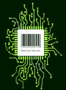 Barcode label on green shyne PCB board style background Stock Illustration
