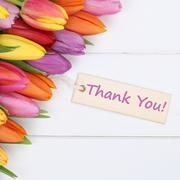 The words Thank You with tulips flowers - stock photo