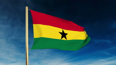 Ghana flag slider style. Waving in the wind with cloud background animation Stock Footage