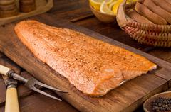 Cedar Planked Salmon - stock photo