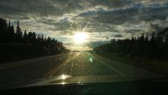 Driving into the sun. Dirty windshield. Oncoming vehicles. Stock Footage