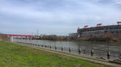 Spring flood waters on Riverfront park Nashville. Stock Footage