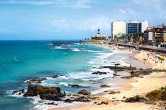 Barra Beach and Farol da Barra in Salvador, Bahia, Brazil Stock Photos