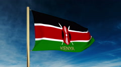 Kenya flag slider style with title. Waving in the wind with cloud background Stock Footage