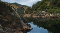 Historic Bridge over American River (4K) Stock Footage