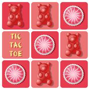 Illustration of strawberry cake ball and jelly gummy in tic-tac-toe game Stock Illustration