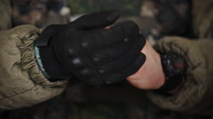 Commando dress gloves CU Stock Footage