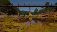 Old Bridge in Rio Tinto Stock Footage