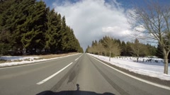 Timelapse driving snowy landscape road Harz mountains Stock Footage