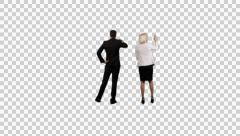 K14A8891 - Girl and Guy standing in front of Map / pointing / arranging - stock footage