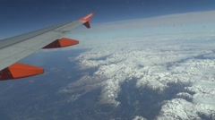 Passenger view from Airbus A319/320 flying over the Pyrennes near Bielsa, Spain. - stock footage