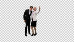 K14A8888 - Dressed up couple taking selfies (selfie) / posing Stock Footage