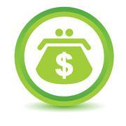 Green Dollar purse icon Stock Illustration