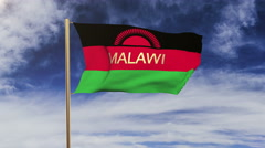 Malawi flag with title waving in the wind. Looping sun rises style.  Animation Arkistovideo