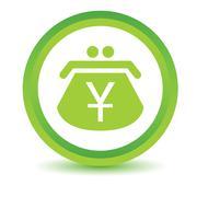 Green Yen purse icon - stock illustration