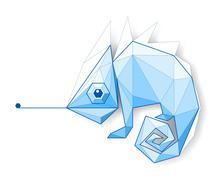 Chameleon. Low polygon linear vector illustration Stock Illustration