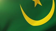 Mauritania flag waving in the wind. Looping sun rises style.  Animation loop Arkistovideo