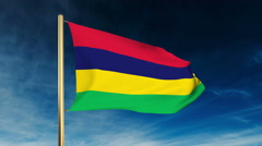 Mauritius flag slider style. Waving in the wind with cloud background animation Stock Footage