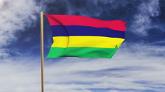 Mauritius flag waving in the wind. Green screen, alpha matte. Loopable animation Stock Footage