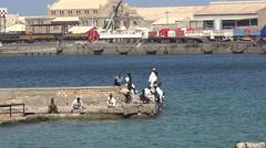 African arabic black men in port of Port Sudan - Africa, Sudan Stock Footage
